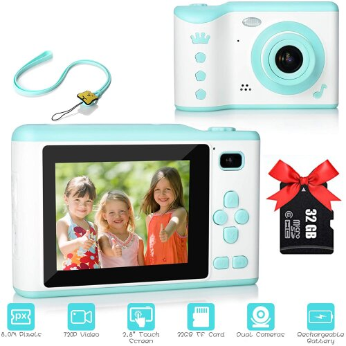 (Blue) Kids Camera With 2.8 Inch Touch Screen 32GB SDCard