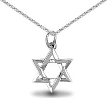 Jewelco London Sterling Silver Star of david Charm Pendant - 18 inch Chain