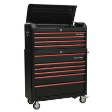 Sealey AP41COMBOBR Retro Style Extra Wide Topchest & Rollcab Combination 10 Drawer - Black with Red Anodised Drawer Pul