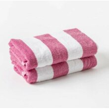 Pink Striped 100% Cotton Pool/Beach Towels 70 x 150 cm - 2 Pack