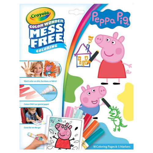 CRAYOLA 75-7000 Peppa Pig Color Wonder Mess Free Book, Multi