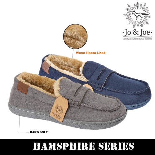 Boys Fur Lined Moccasin Slippers Shoes
