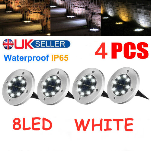 (White) 4Pcs 8LED Solar Powered Ground Lights Outdoor lamp Waterproof  Garden Landscape Spike Lighting for Yard Driveway Lawn Pathway