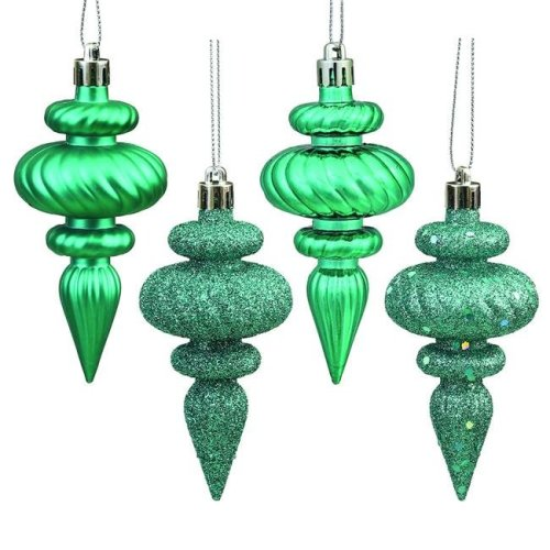 Vickerman N500042 Teal 4 Finish Assorted Finial Ornament - 4 in. - 8 Per Box