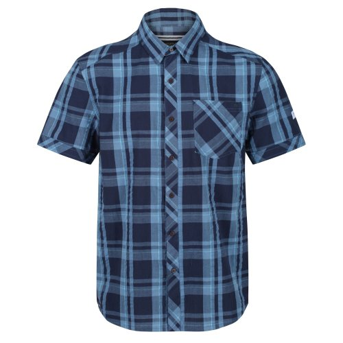 (4XL, Navy Check) Regatta Mens Deakin III Short Sleeve Checked Shirt