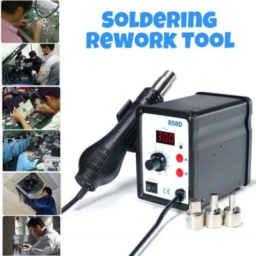 220V SMD 858D Soldering Repair Desoldering Station Hot Air Rework Tool