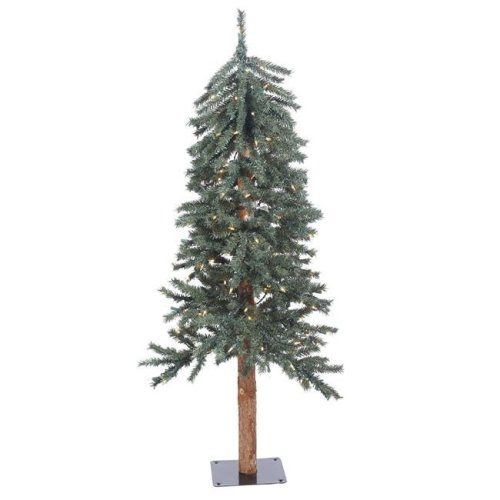 Vickerman B907341LED Natural Bark Dura-Lit Alpine Tree with Warm White LED Lights - 4 ft. x 25.5 in.