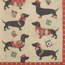 4 x Paper Napkins -Winter Dachsund - Ideal for Decoupage / Napkin Art
