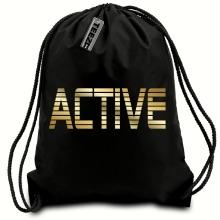 Black & Gold Active drawstring bag, Swimming bag, Sports Bag