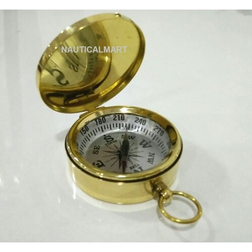 Brass Pocket Compass Marine Gift Nautical Collectible