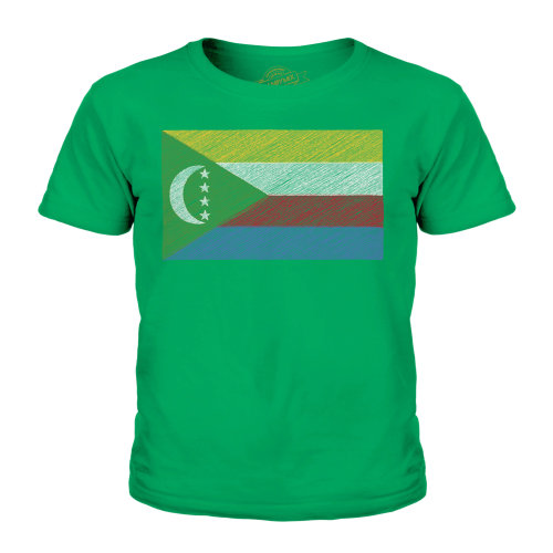 (Irish Green, 7-8 Years) Candymix - Comoros Scribble Flag - Unisex Kid's T-Shirt