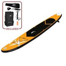 XQ Max 320cm Orange Tropic Inflatable Stand Up Paddle Board SUP - Complete Set Kit with Adjustable Paddle, Pump, Patch Tool, Waterproof Dry Bag