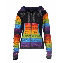 Ladies stonewashed cotton cardigan with colorful hand painted design