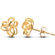 Jewelco London Ladies 9ct Yellow Gold Trinity Double Love Knot Stud Earrings