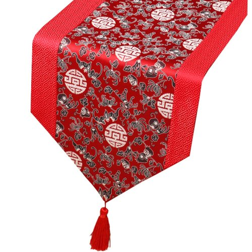 Chinese Classical Table Runner Traditional Satin Table-cloth- Red Pomegranate