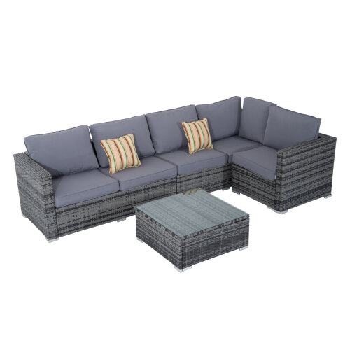 Outsunny 4 Pieces Rattan Furniture Set Sofa Chair Coffee Table Wicker Grey