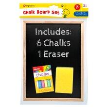 A4 Kids Childrens Chalkboard Wooden Frame with Chalks and Eraser