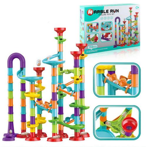 (113PCS) The Magic Toy Shop Marble Run Race Toy Set,Construction Building Block Maze Toy Gift 113/93/50pcs