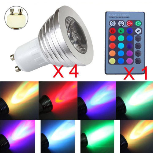 4 x GU10 3W 16 Color Changing RGB Dimmable LED Light Bulbs Lamp RC Remote Spot