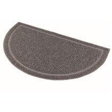 Cat Litter Tray Mat, Semi-circular, Pvc, 59 x 35 Cm, Anthracite - Mat Pvc New -  cat litter mat pvc tray new trays oval grey 2 sizes 40386 trixie 59