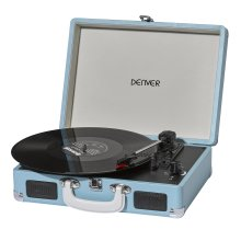 Denver VPL-120 Turquoise 3-Speed Vinyl Record Player With Stereo Speakers