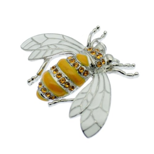 Bumble Bee Honey Bee Pin Brooch Rhinestones Vintage Design On
