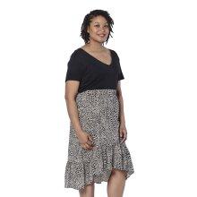 LA MAREY Black Printed Midi Skirt