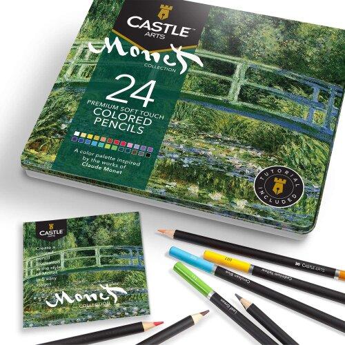 Castle Arts Monet Themed 24 Piece Coloured Pencil Set in Tin Box