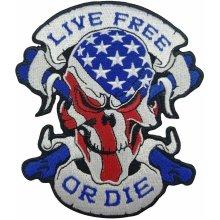 Live free or die Rider Skull Biker Motorcycle Embroidered Iron On Patch