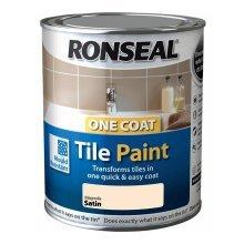Ronseal One Coat Tile Paint 750ml - SATIN Magnolia