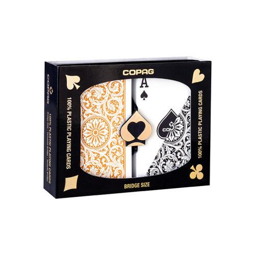 Copag 1546 Plastic Playing Cards Bridge Size Regular Index Black/Gold Double-Deck Set