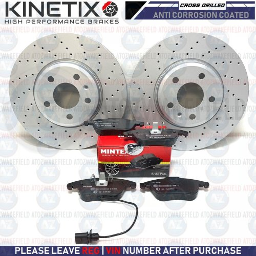 FOR AUDI A4 B8 2.0 FRONT CROSS DRILLED KINETIX BRAKE DISCS MINTEX PADS 314mm