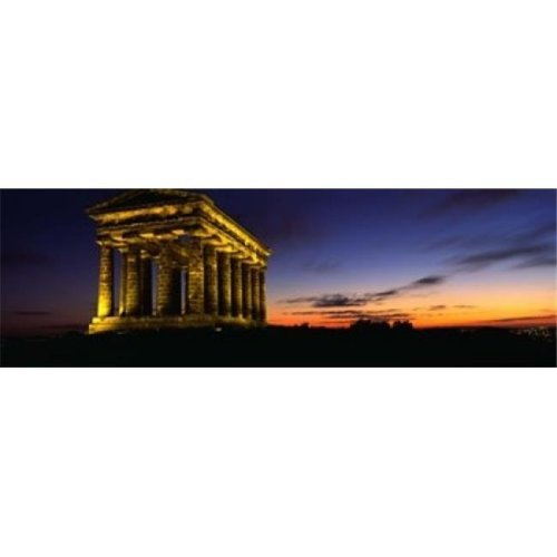Monument Lit Up At Dusk  Penshaw Monument  London  England  United Kingdom Poster Print by  - 36 x 12
