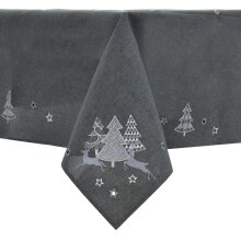 """Christmas Tablecloth Dark Grey Fabric Luxury Embroidered Trees Rectangle 52x90"""""""
