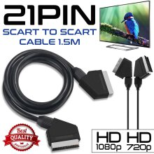 1.5Meter Scart Video/TV VCR Cable DVD Fully Wired 21Pin SCART Cable