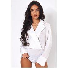 Sofia White Satin Bodysuit
