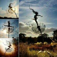 Dancing Fairy Dandelion Statue Ornament Stakes