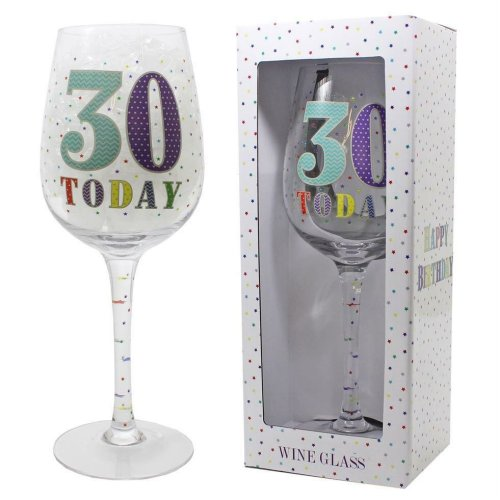 Star Design 30th Birthday Wine Glass