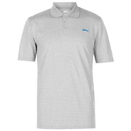 (Grey, S) Slazenger Mens Micro Stripe Golf Polo Shirt Collared Neckline Blouse Sports Top