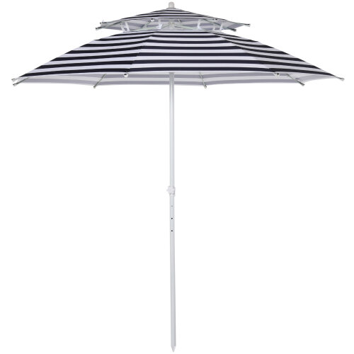 Outsunny Arc. 240cm Beach Umbrella Adjustable Height with Double-top Blue Stripe