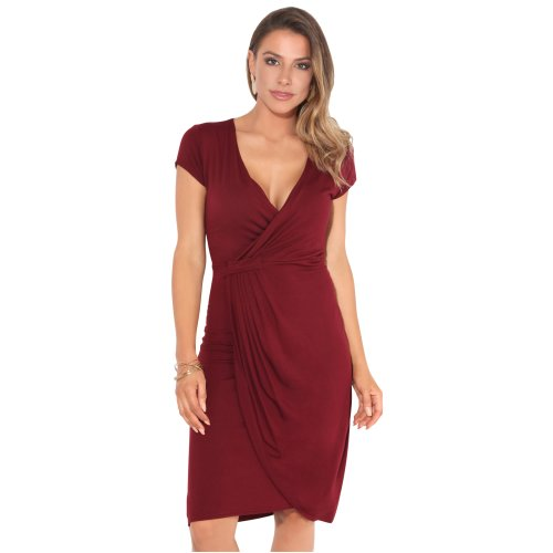 (Wine, 14) Cap Sleeve Wrap Jersey Dress