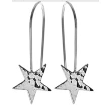 Hammered star long drop earrings, solid Sterling silver.