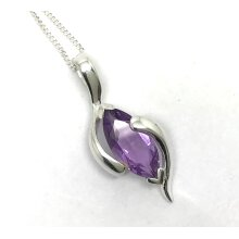 Real amethyst marquise pendant, solid Sterling silver, necklace.