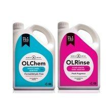 OLPRO OLChem Toilet Fluid (2L) & OLPRO OLRinse Caravan & Camping Toilet Rinse (2L) Twin Pack