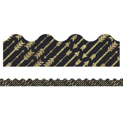 Sparkle & Shine Gold Glitter Arrows Scalloped Border