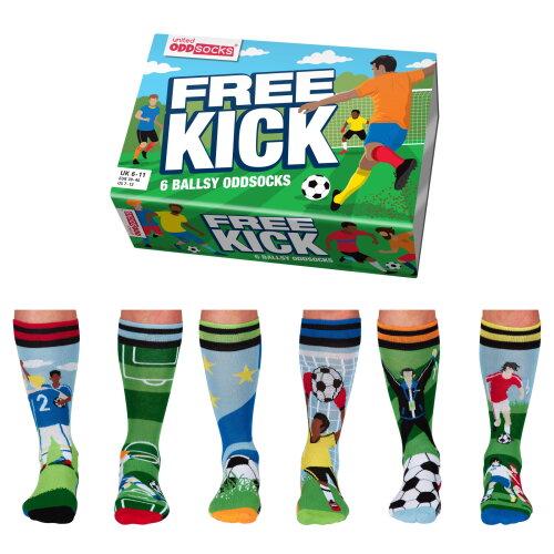 United Oddsock Free Kick - Box 6 Odd socks for Men UK 6-11