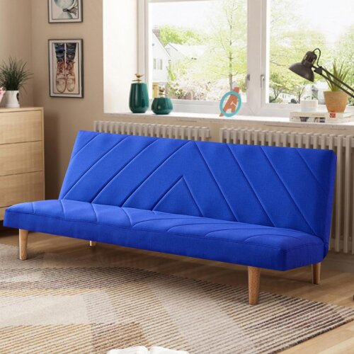 (Blue) Modern 3-Seater Fabric Sofa Bed