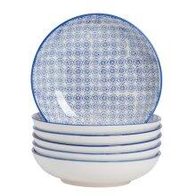 Large Pasta Bowls Dinner Set Patterned Porcelain Dining Bowl - Blue Flower x6