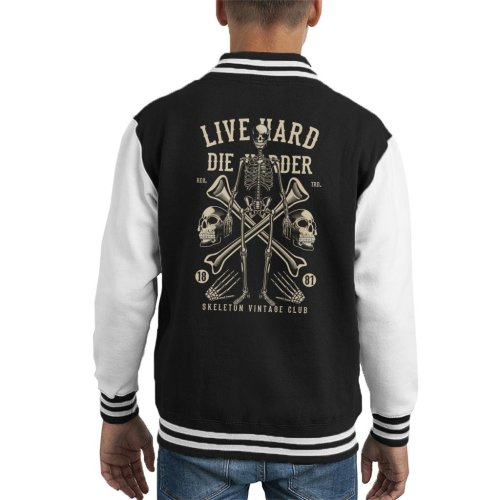 Live Hard Die Harder Skeleton Kid's Varsity Jacket
