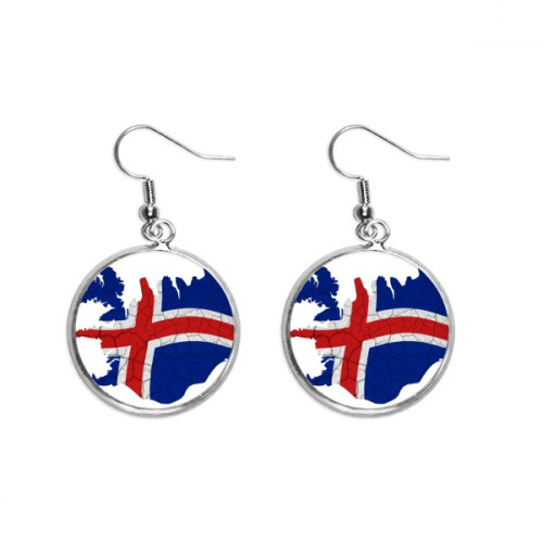 Map Iceland Abstract Flag Pattern Ear Dangle Silver Drop Earring Jewelry Woman